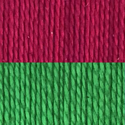 magenta and green yarns