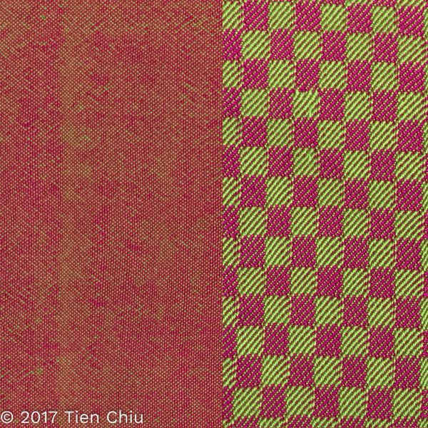 Magenta and green samples, plain weave and twill blocks