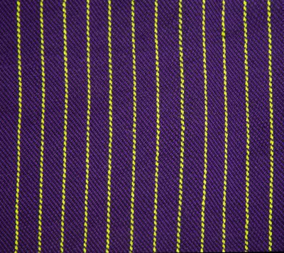handwoven cloth sample - purple and lime green, 88% purple, 12% lime green