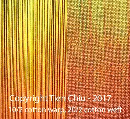Close-up of painted warp sample showing how to preserve painted warp colors using a finer weft. 10/2 cotton warp, 20/2 cotton weft, sett at 30 epi/12 epc.
