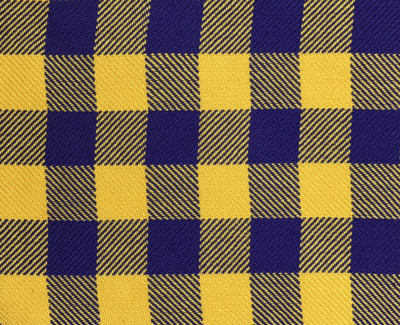 Handwoven cloth woven in highly contrasting colors - yellow and navy blue