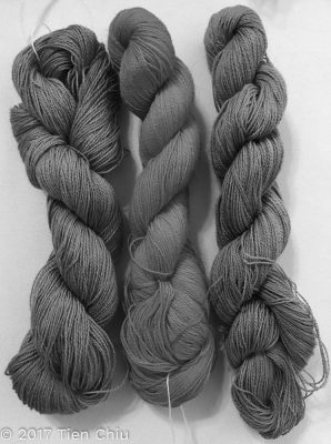 The same three yarns, but in black and white