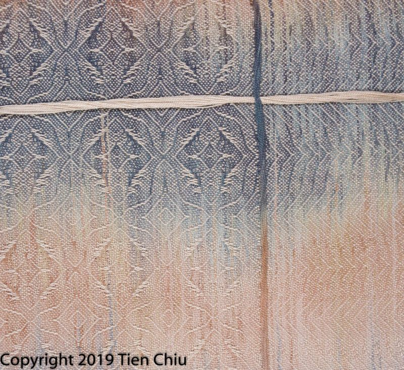 handwoven painted warp sample with tan and gray warp, beige weft