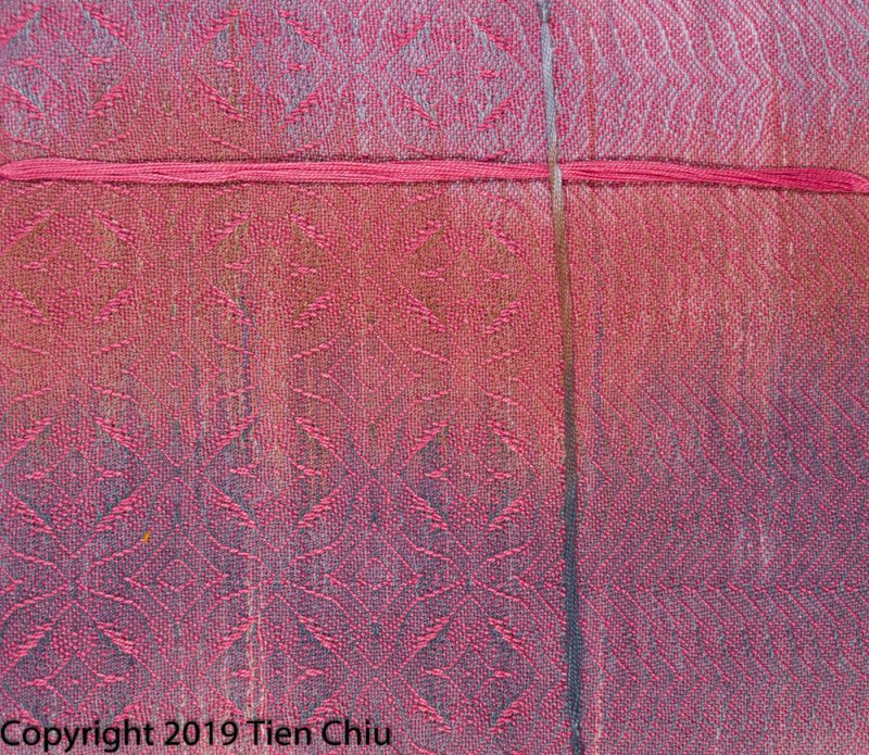 handwoven painted warp sample with tan and gray warp, medium pink weft