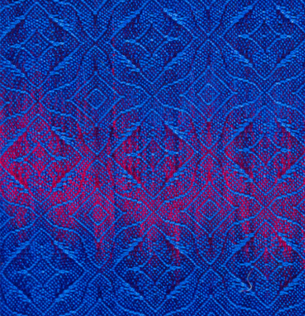 handwoven swatch with blue against blue-purple