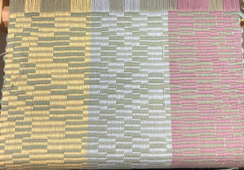 Handwoven color sample woven in repp weave