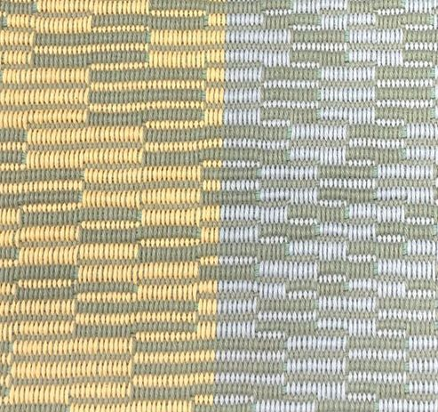 handwoven yellow and blue repp weave sample