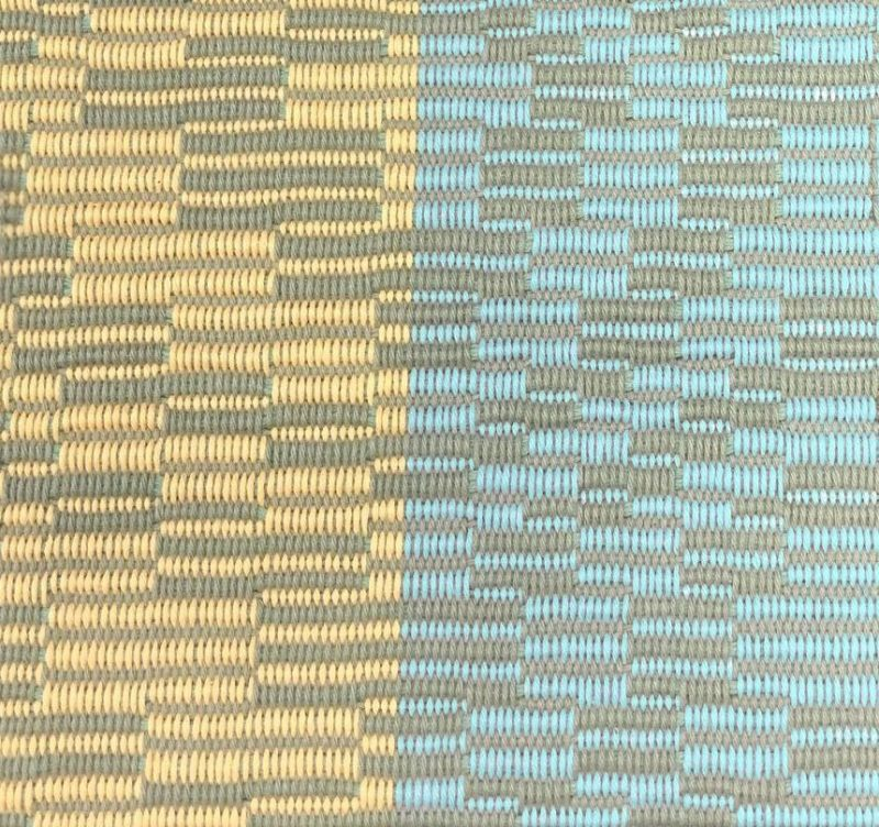 handwoven repp weave sample with saturated blue yarn