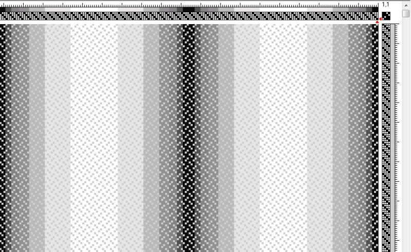 4-shaft broken twill draft showing an optical illusion of curves