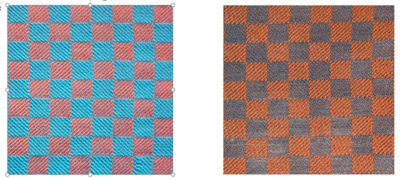 a high-saturation blue and orange swatch on the left, a low-saturation blue and rusty orange swatch on the right
