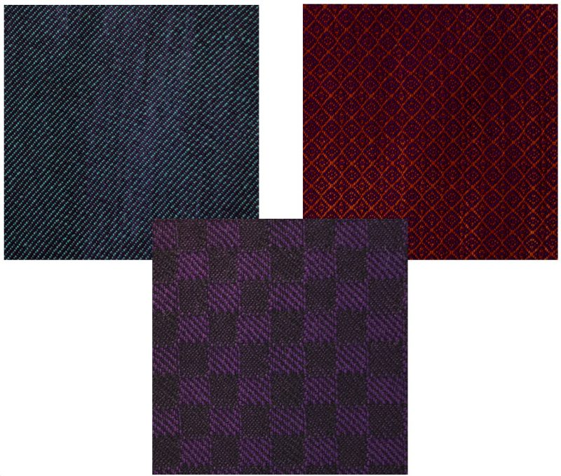 dark colored handwoven swatches
