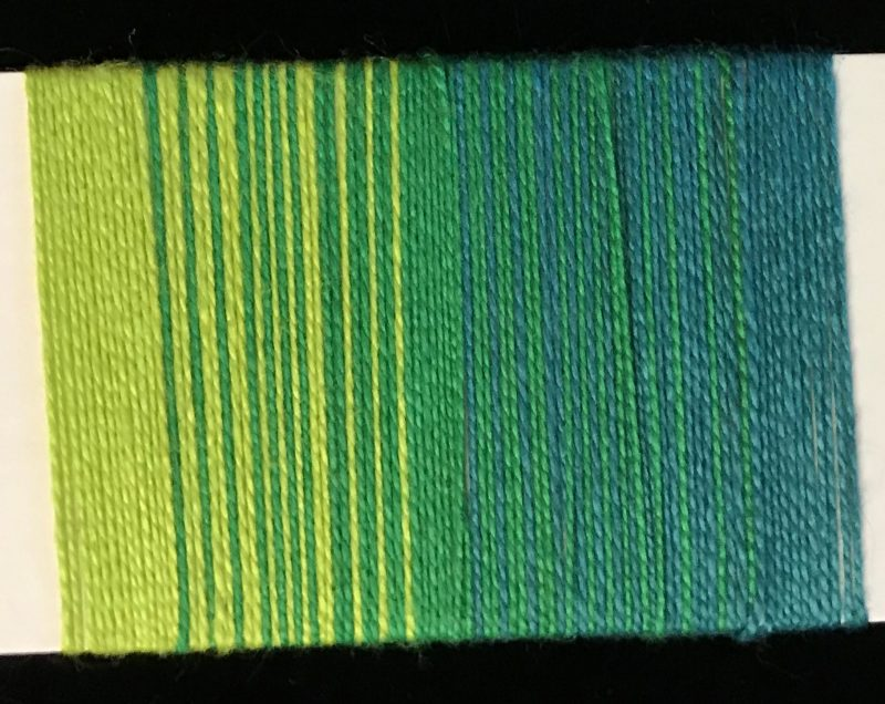 yarn wrap showing yellow-green and blue-green to green color gradients