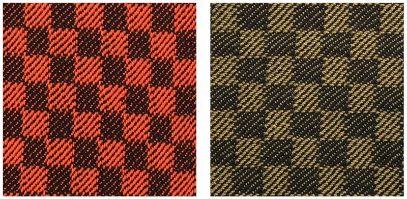 high saturation vs. low saturation handwoven swatches