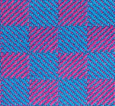 1/3 vs. 3/1 twill blocks - turquoise warp, magenta weft