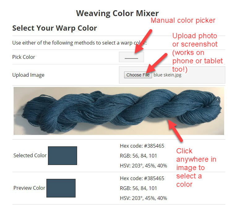Screenshot showing how to select colors in the Color Mixing Tool