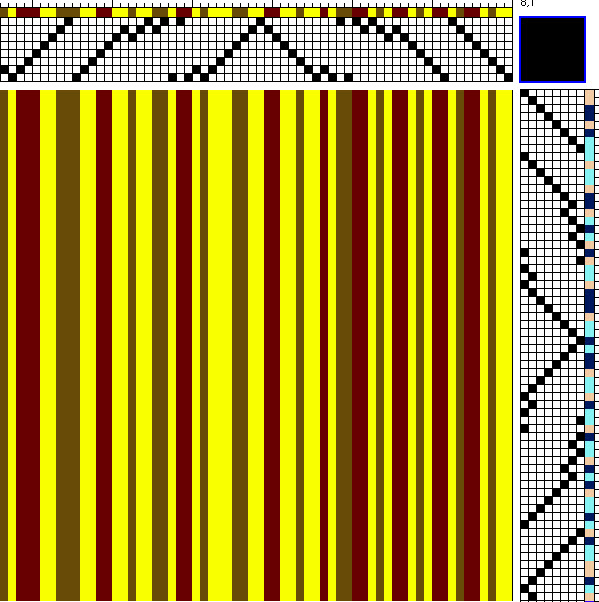 warp for chaotic draft - yellow, dark red, and dark golden brown in random stripes