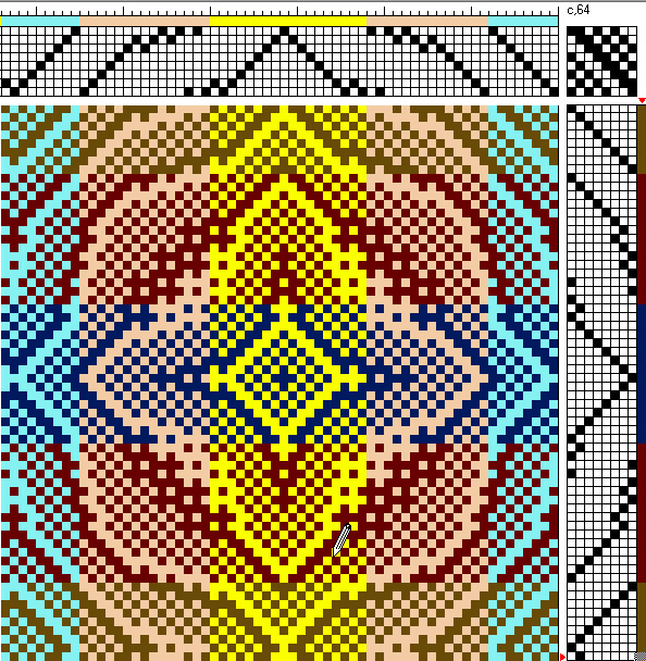 A draft that uses the same six sample colors, only arranged into wide stripes.