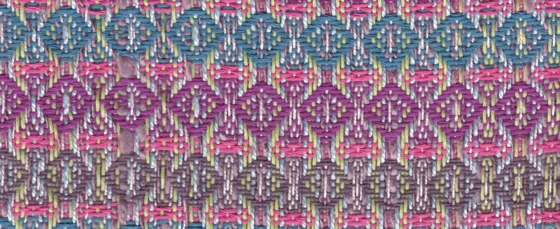 swatch with four narrow stripes of pink and wide stripes of the other colors
