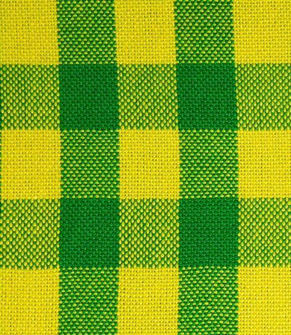swatch of yellow and green checkered fabric