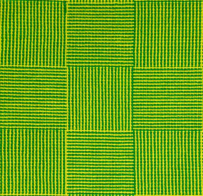 swatch of yellow and green log cabin fabric