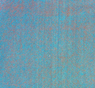 cyan and orange woven into a blue-gray plain weave swatch