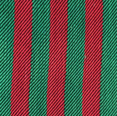 Red and green as warp stripes in a 3/1 twill swatch, black weft