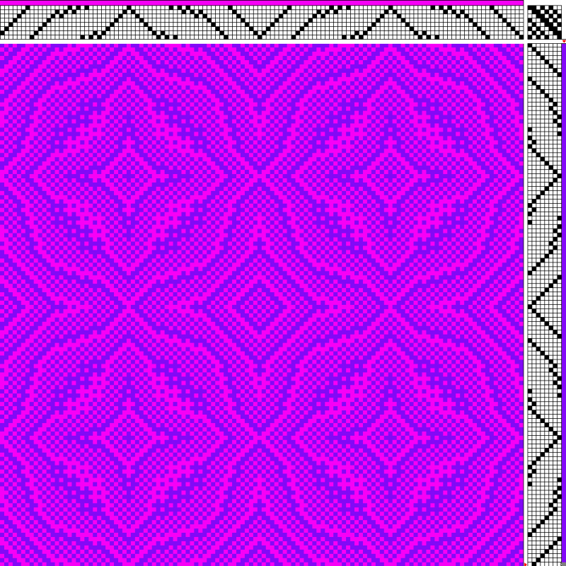 a draft with warp and weft that are close to each other on the color wheel