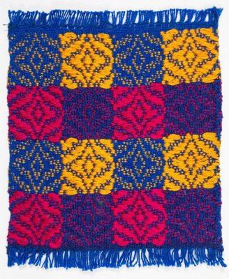 yellow and magenta mug rug