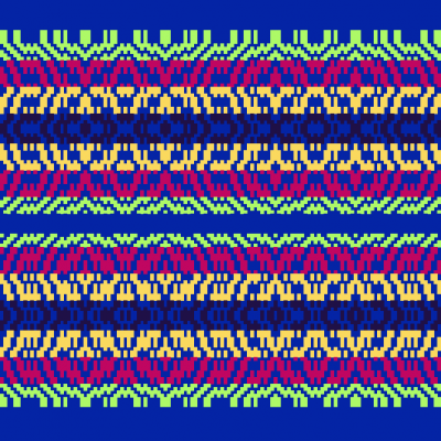 drawdown for alternate version of Eileen's mug rug, with lime green and dark purple color stripes swapped places