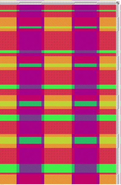 Draft for Janene Driscoll's Project Three Towel Two, in Make Your Colors Sing color in weaving class by Tien Chiu