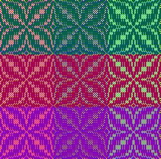 Draft for Joy Pate's Colorista Challenge solution, in Make Your Colors Sing color in weaving class by Tien Chiu