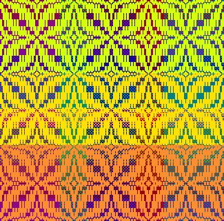 Draft for Joy Pate's Colorista Challenge solution,, in Make Your Colors Sing color in weaving class by Tien Chiu