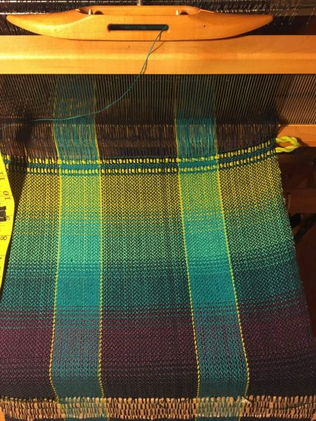 Sample for Kate Friesen's Project Two Towel One, in Make Your Colors Sing color in weaving class by Tien Chiu