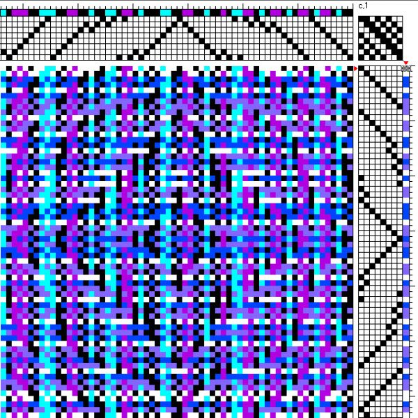 Fancy twill pattern completely obscured by warp and weft patterning