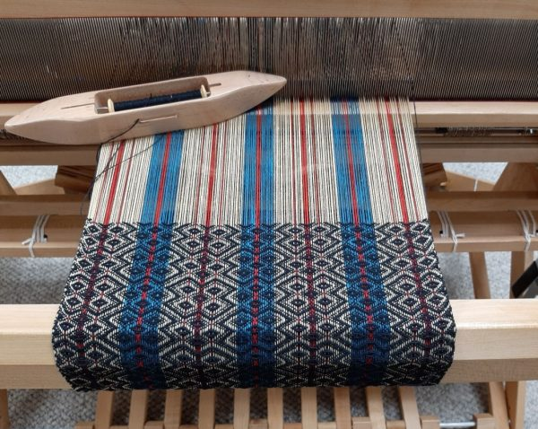 Carol's Stash Weaving Success scarf on the loom