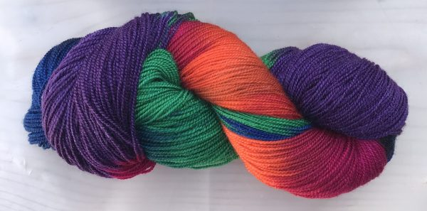 painted skein, in big chunks of color