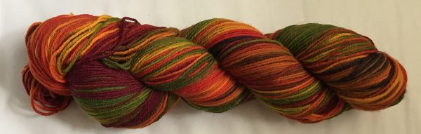 handpainted skein, rewound to show the color blending