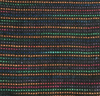 Colors separated by a single shot of black weft