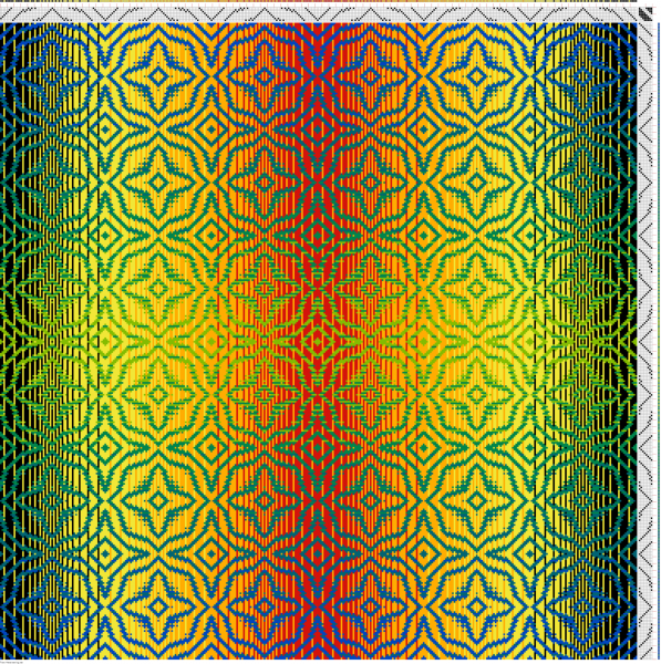 Draft #3 in double gradient, showing the top side of the fabric - warp dominant with mostly red/orange/yellow warp showing