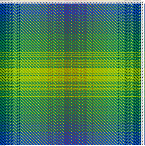 1-3 twill draft, showing the reverse side, weft-dominant (mostly blue-green-yellow-green weft showing)