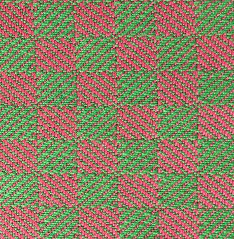 separating draft swatch - 1/3 vs. 3/1 twill blocks, green and magenta yarns