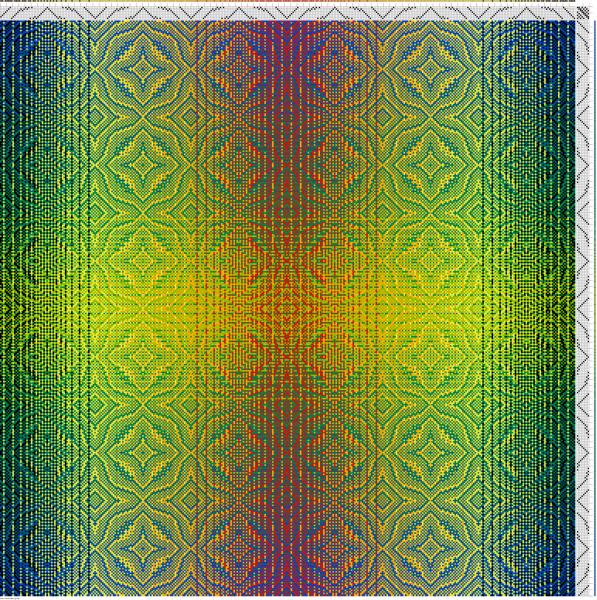 Draft #1 in warp and weft gradient patterns